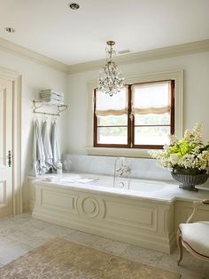 Chandeliers            Even the bathroom needs glamour, and adding a chandelier is a quick way to upgrade a hardworking space. Hang a pretty fixture over the bathtub so you can enjoy it while you lounge, or put it near a window so the crystals can bounce light around the room.