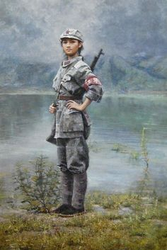 View Red army soldier is the only choice by Zhang Dazhong on artnet. Browse upcoming and past auction lots by Zhang Dazhong. Military Women, Military Art, Military History, Military Diorama, Chinese Propaganda Posters, Propaganda Art, Communist Propaganda, Female Soldier, Army Soldier