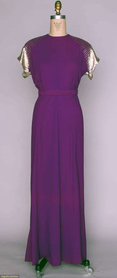 Augusta Auctions, April 17, 2013 - NYC: Purple Crepe  Lame Evening Gown, 1940