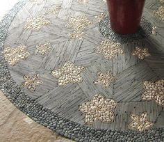 Great ideas on mosaics with pebbles and pavers etc., for the garden (and a wall!) from Portfolio Gallery - MetaMosaics
