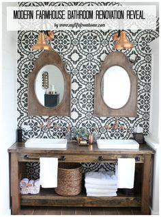 Modern-Farmhouse-Bathroom-Renovation-bathroom-farmhouse-bathroom-farmhouse-style-copper-accents-rustic-and-wood-vanity-bathroom-reveal- cement tile- patterned wall tile- wood vanity- shiplap wall treatment