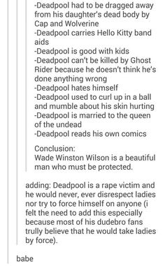 ~Also for the dudebro fans, Deadpool is canonically pansexual.~