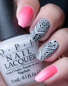Stamping nail art using OPI: I Cannoli Wear OPI and stamped with a BundleMonster Shangri La plate | ChitChatNails