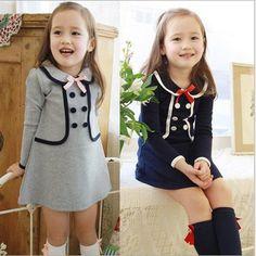 YD2138spring 2016 children dress academic fashion kids dress