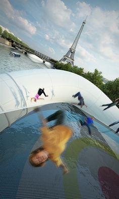 Een trampolinebrug in Parijs. Cool! (4/4)
