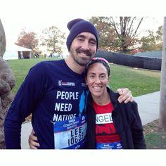 Lee and teammate Angela Langford at the NYC marathon, Nov.6/16