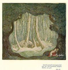 "PetitPoulailler 1914 John Bauer 'Among Gnomes and Trolls', ""I parken"" [detail]"