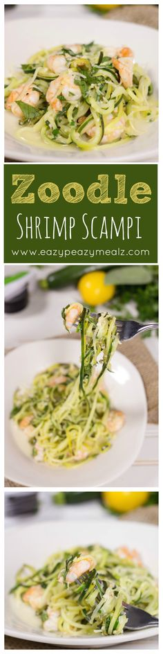 Zoodle Shrimp Scampi is healthy, delicious, and so easy to make. This is our favorite quick dinner! And it is Gluten Free - Eazy Peazy Mealz