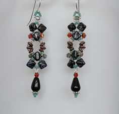 Earrings Black Aqua Sage and Brick Czech by LindyLeeTreasures #Christmas #Gifts #Pearls
