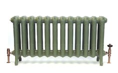 Queen in Farrow & Ball Green Smoke cast iron radiator. From Castrads. Victorian Radiators, Old Radiators, Cast Iron Radiators, Farrow And Ball Kitchen, Farrow And Ball Paint, Farrow Ball, Hydronic Heating, French Country House, Heating Systems