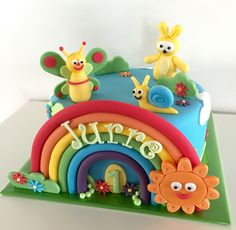 Baby Boy Cakes, Cakes For Boys, Belle Cake, First Birthdays, Fondant, Birthday Cake, Rainbow, Number, Awesome