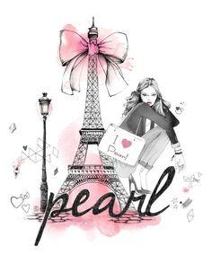 Lutheen paris love pink girl fashion illustration