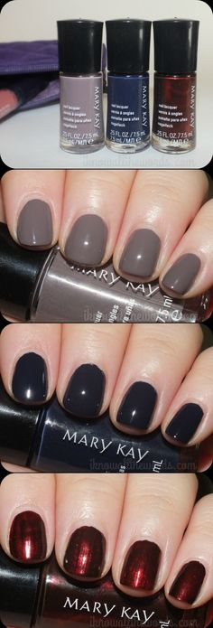 Mary Kay Fairytales & Fantasy Nail Lacquer- Amethyst Smoke, Blue Knight, and Mulberry Forest - created via http://pinthemall.net