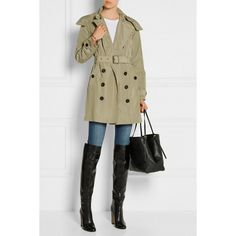 Burberry Brit Balmoral Packaway hooded shell trench coat (€625) ❤ liked on Polyvore featuring outerwear, coats, sets and models, burberry trenchcoat, trench coat, hooded coat, burberry coat and shell coat