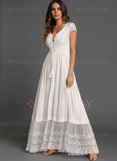 Solid Embroidery Peasant Maxi Shift Dress - White S Source by floryday dresses summer Casual Dresses, Fashion Dresses, Summer Dresses, Maxi Dresses, Women's Fashion, White Dress Casual, White Boho Dress, Summer Maxi, White Maxi