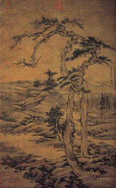 元代 - 吳鎮 -《雙松圖》 (1328年) Painted by Wu Zhen ( 吳鎮,1280- 1354 )                                                吳鎮,元代畫家,字仲圭,號梅花道人、梅沙彌等,嘉興(今浙江)人。與黃公望、王蒙、倪瓚並稱「元四家」。 吳鎮性孤介,一生清貧;但他博學多識,工書法,善草書,能詩文,繪畫善水墨山水畫,師法巨然,用長披麻皴,兼以斧劈,筆力勁爽,墨氣淋漓,寫出山川的林木崢嶸郁茂,改變了巨然「淡墨輕嵐」的風格。亦畫松竹,挺拔有致。他的畫善用老筆濕墨,筆力雄勁。畫墨竹筆意豪宕,生意滿紙;畫古木、怪石挺勁有力。明清兩代書畫家均受他很大影響。