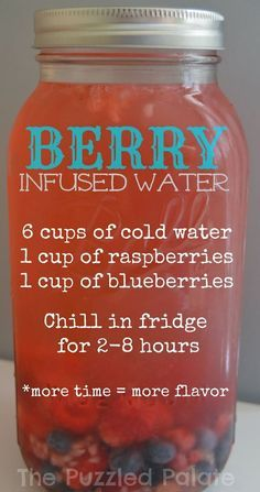 The Puzzled Palate: Simple Infused Water Recipes flavored water: Berry & Citrus Smoothie Drinks, Healthy Smoothies, Healthy Snacks, Healthy Recipes, Locarb Recipes, Bariatric Recipes, Quick Recipes, Diabetic Recipes, Beef Recipes