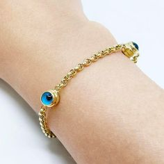 14k Solid Yellow Gold / Blue Evil Eye Bracelet / Evil Eye Station Rolo Chain Bracelet / Protection Jewelry Evil Eye Gift / Protective Solid Gold Bracelet, Butterfly Bracelet, Evil Eye Bracelet, Colorful Bracelets, Gold Coins, Yellow, Blue, Sterling Silver Rings, Amethyst