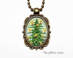 Christmas Tree Necklace, Holiday Jewelry, Bronze Pendant, Stocking Stuffer Gift Christmas Tree Necklace, Bronze Pendant, Holiday Jewelry, Stocking Stuffers, Pocket Watch, Unique Jewelry, Handmade Gifts, Accessories, Etsy