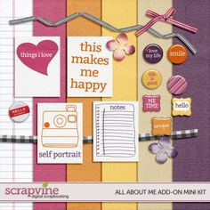 All About Me mini kit freebie from Scrapvine