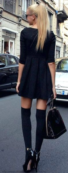 Cute black dress, love the sleeve length and skirt length!