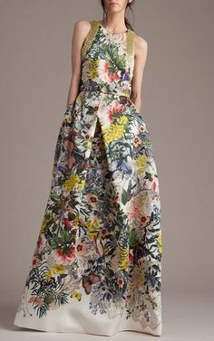 Embroidered Botanical Print Structured Top by Monique Lhuillier for Preorder on Moda Operandi