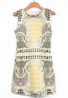 91a91f40a45 Yellow Black Sleeveless Geometric Print Tank Dress pictures Tank Dress