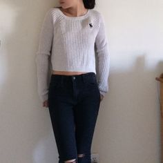 Abercrombie Tan cropped Sweater this is from Abercrombie and it is a great fall accessory for next year! super cute and also good for cold nights. Abercrombie & Fitch Sweaters Cardigans