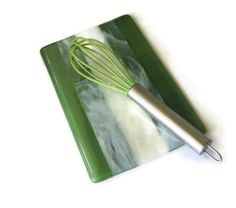 Spoon rest -- marbled green and white fused glass