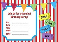 Free Printable Carnival Themed Invitations Paper crafting