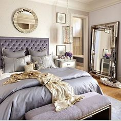 Are you looking for purple bedroom design concepts? Yup, as we already know, you can't never go wrong with purple. Pleased and regal, or soft and wonderful, the variety of purple tones is incomparable. Check out these purple bedroom ideas! Feminine Bedroom, Glam Bedroom, Home Bedroom, Bedroom Ideas, Bedroom Designs, Mirrored Bedroom, Modern Bedroom, Bedroom Photos, Bedroom Mirrors