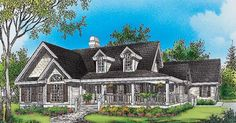 cape cod  cottage  with porches  and a breezeway to detached  garage | Country House Plans Wrap Around Porch, Home Floor Plan Designs ...