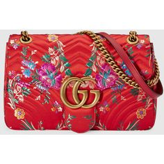 Gucci Gg Marmont Floral Jacquard Shoulder Bag (2,046,380 KRW) ❤ liked on Polyvore featuring bags, handbags, shoulder bags, red shoulder bag, red handbags, gucci purse, structured handbags and flower print handbags