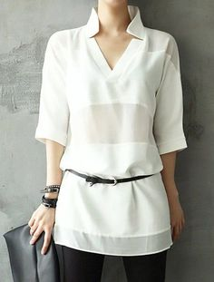 Stylish V-Neck Half Sleeves Solid Color Long Blouse For Women Cheap Blouses, Blouses For Women, White Off Shoulder Top, Off Shoulder Dresses, Long Blouse, Half Sleeves, Long Sleeve Tops, Tunic Tops, Womens Fashion