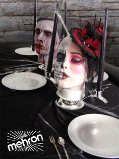 Centerpieces DIY - Halloween   Buy mannequin heads at MannequinMadness.com http://www.mannequinmadness.com/mannequin-heads-wigs/
