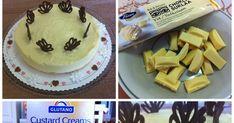 Yksinkertainen ja helppo gluteeniton juustokakku syntyy gluteenittomista täytekekseistä murennetusta pohjasta ja mangotuorejuusto-ke... Custard, Cream, Cake, Desserts, Food, Creme Caramel, Pie Cake, Tailgate Desserts, Pie