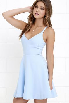 Skater Dress - Periwinkle Dress - Light Blue Dress - Fit-and-Flare - $56.00
