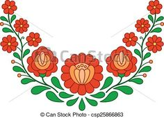 Vector - Traditional Hungarian folk embroidery pattern - stock illustration, royalty free illustrations, stock clip art icon, stock clipart icons, logo, line art, EPS picture, pictures, graphic, graphics, drawing, drawings, vector image, artwork, EPS vector art