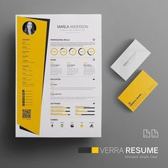 Verra Resume is a minimalist, unique and professional resume template designed to make an impression. Easy to edit and customize, with a single page resume design, cover letter and portfolio… Modern Resume Template, Resume Design Template, Resume Templates, Cv Template, Portfolio Design, Portfolio Resume, Unique Resume, Creative Resume, Graphic Design Resume
