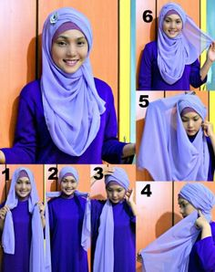 Hijab Tutorial make a turban style hijab with your favorite scarf in plain color or pattern. Different , I like it!