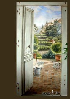 The decorative art of a painter-artist Door Murals, Mural Wall Art, Panel Wall Art, Mural Painting, Diy Wall Art, Photo Wallpaper, Wall Wallpaper, Trompe L Oeil Art, Art Decor
