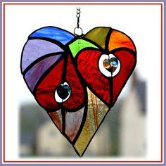 Heart of Hearts Stained Glass Rainbow Suncatcher  Handmade British £16.00