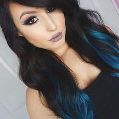 """Obsessed with these #kyliehairkouture extensions from @bellamihair  Use code """"ashleyswagnerxo"""" for a discount!✨ Lipstick is #ghoulish from @lasplashcosmetics #bellamioffblackteal #bellamihair #lasplashcosmetics"""
