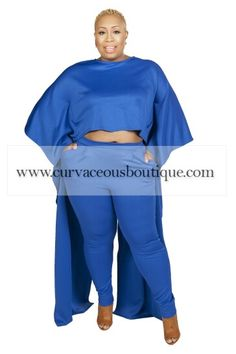 NEW ARRIVAL   BLUE SPLIT CAPE PANT SET   (( MODEL WEARING 1X ))   SIZE  1X  2X  3X     COLORS  WHITE  BLACK  PEACH  BLUE     WWW.CURVACEOUSBOUTIQUE.COM & IN STORE    VISIT THE WEBSITE FOR ALL DETAILS and PRICE