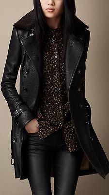 New Women Genuine 100 % Lamb Skin Leather Designer Long Trench Coat GD- 06