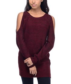 The Peggy Coldshoulder burgundy sweater from Almost Famous offers trendy styling in a unique melange burgundy and black knit design. This crew neck sweater has openings at the shoulders for a flirty vibe and a longer cut for ultimate comfort that pairs we