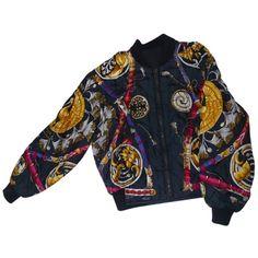SILK AVIATOR JACKET HERMÈS (€375) ❤ liked on Polyvore featuring outerwear, jackets, coats, coats & jackets, multi-color leather jackets, silk jacket, multi colored jacket, aviator jacket and hermes jacket