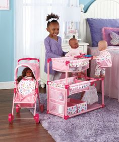 Baby Doll Play Center and Tandem Stroller lets her imagine she's a mom of twins. #adorable