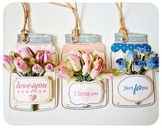 Jar tags - flowers tucked behind a label - must remember this!