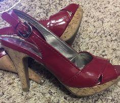 Kelly & Katie Strappy Red Patent Heels Size 7 1/2 #KellyKatie #Strappy